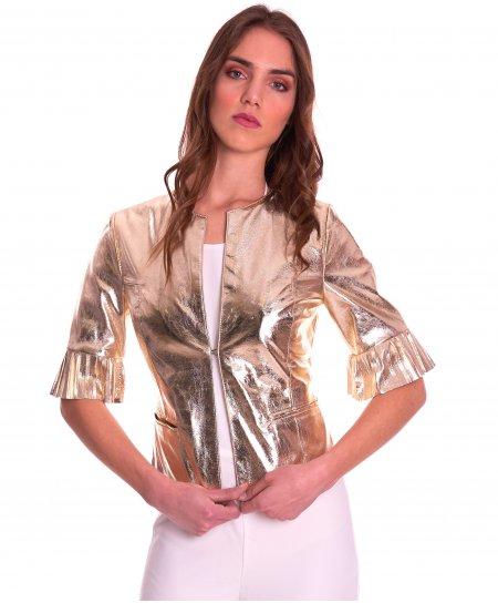 CLEAR PLISSE • couleur or • veste en cuir laminé manche plissé aspect lisse