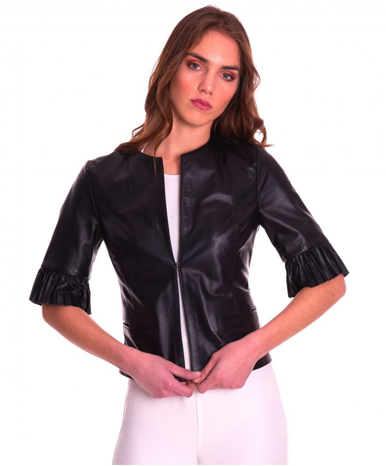 CLEAR PLISSE • couleur noir • veste en cuir plongé manche plissé aspect lisse