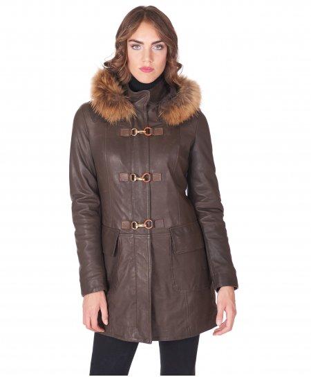 Manteau cuir marron foncé avec capuche cuir naturel