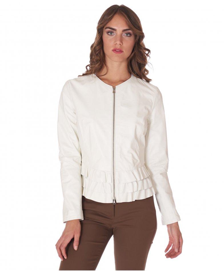 Vest cuir blanc avec rouches col rond agneau plongé