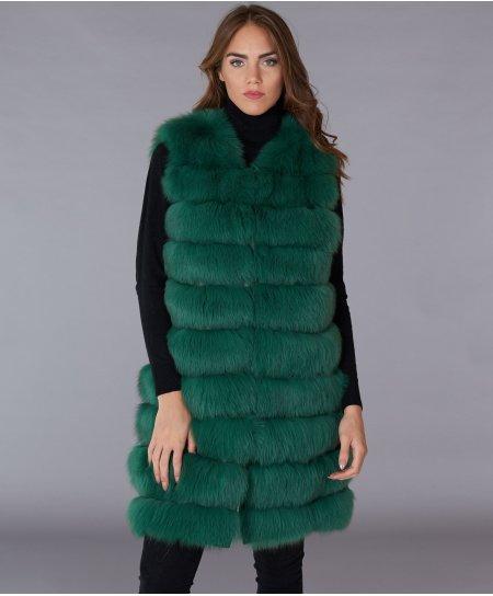Veste fourrure renard femme avec fermeture crochet • couleur vert