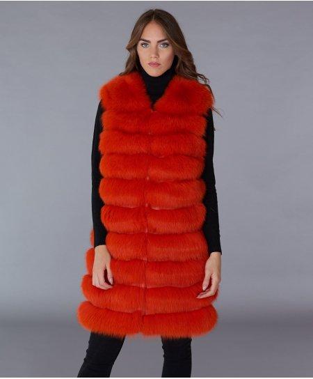 Veste fourrure renard femme avec fermeture crochet • couleur orange