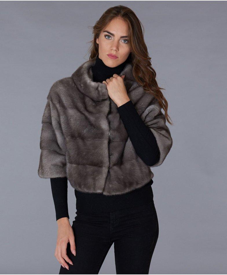 Veste fourrure vison femme manche 3/4 • couleur gris