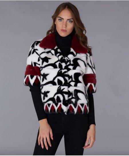 Veste fourrure vison femme col rond et manche 3/4 • couleur blanche noir