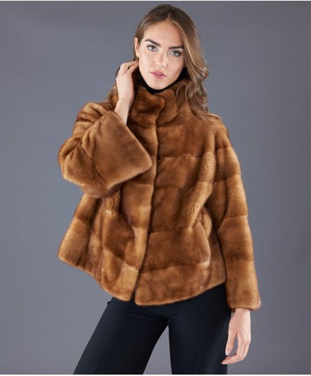 Veste fourrure vison femme manche longue • couleur miel