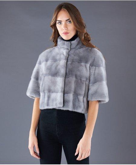 Veste fourrure vison femme courte col mao • couleur sapphire