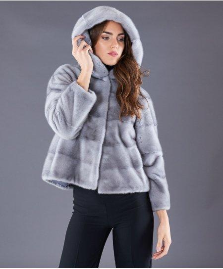 Veste fourrure vison femme avec capuche • couleur saphire