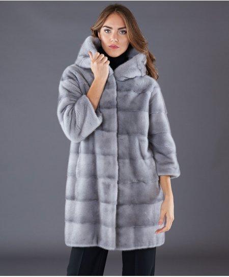 Manteau fourrure vison femme avec capuche • couleur saphir