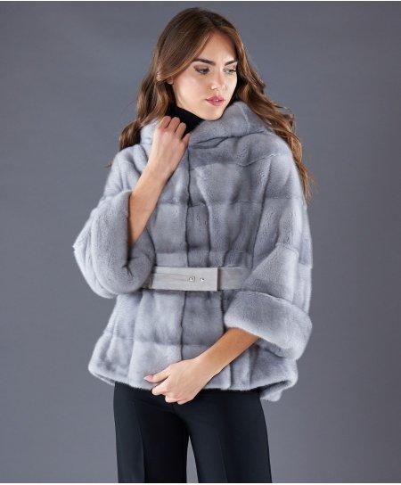 Veste fourrure vison femme ceinture et capuche • couleur saphire