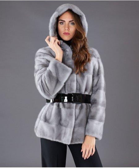 Veste fourrure vison femme avec capuche • couleur saphir