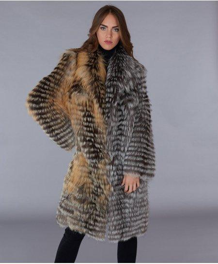 Manteau fourrure renard femme col V • couleur marron noir
