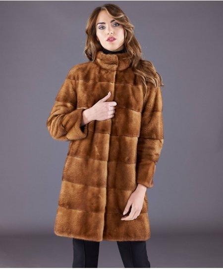 Manteau fourrure vison femme col rond • couleur miel