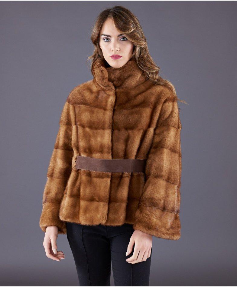 Veste fourrure vison femme manche 3/4 et ceinture • couleur miel