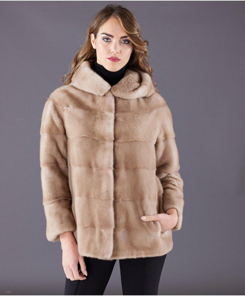 Veste fourrure vison femme avec capuche • couleur beige