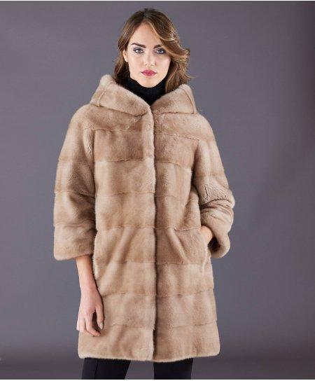 Manteau fourrure vison femme avec capuche • couleur miel