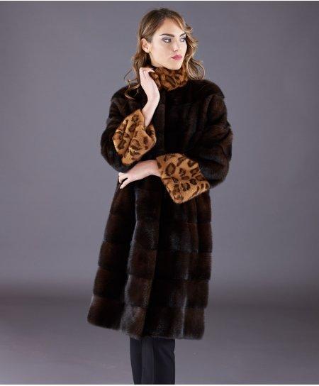 Manteau fourrure vison femme col haut et manche longue • couleur acajou