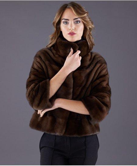 Veste fourrure vison femme manche 3/4 • couleur acajou
