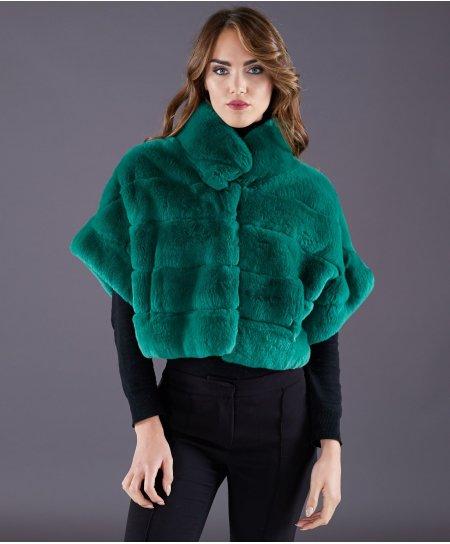 Veste fourrure rex rabbit femme manche courte • couleur vert