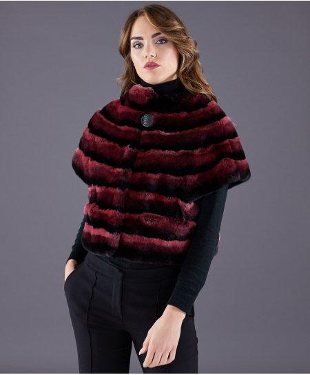Veste fourrure rex rabbit femme lignes horizontales • couleur rouge