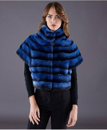 Veste fourrure rex rabbit femme lignes horizontales • couleur bleu