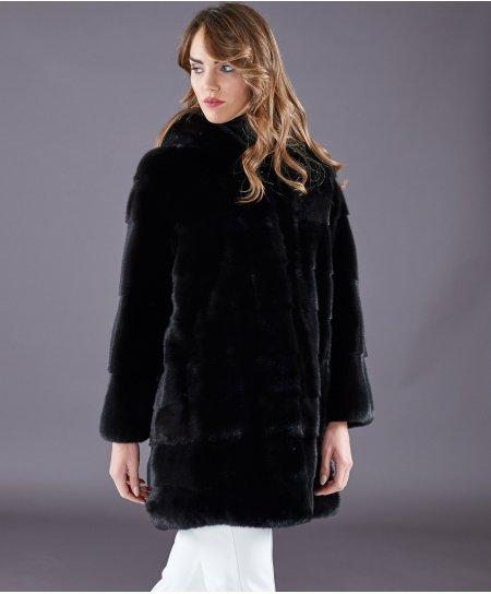 Manteau fourrure vison femme avec capuche • couleur noir