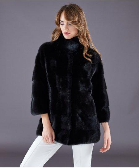 Veste fourrure vison femme manche longue • couleur noir