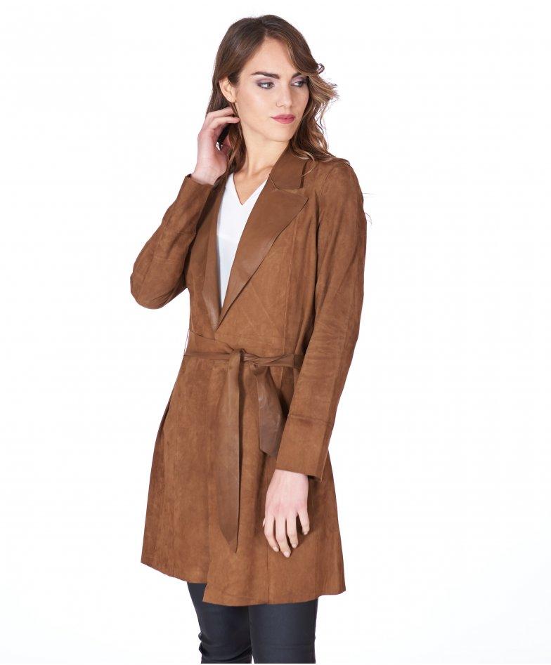 Manteau cuir velours cognac à ceinture sans doublure
