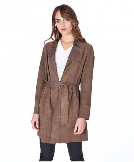 Manteau cuir velours olive à ceinture sans doublure
