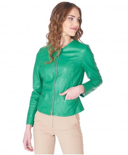 Veste cuir vert col rond cuir plongé aspect lisse