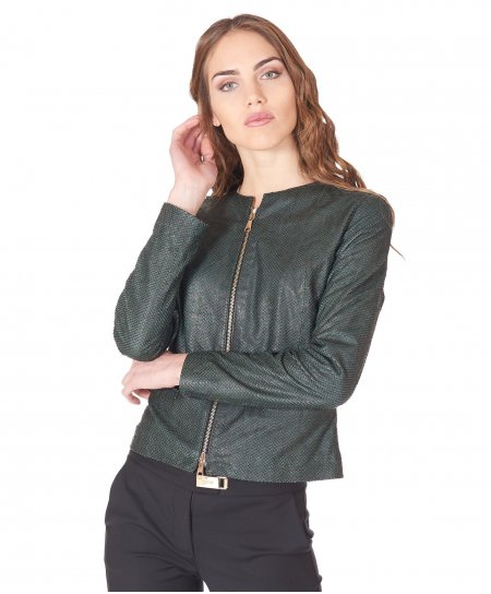 Veste cuir vert cuir plongé aspect écaillé