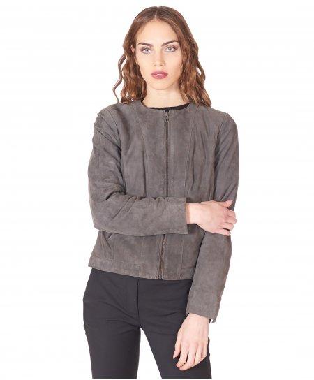 Veste cuir gris cuir agneau velours aspect lisse