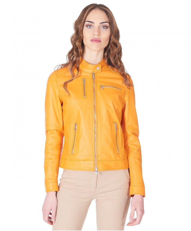 Veste cuir orange veste moto cuir plongé aspect lisse