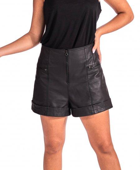Pantalon court en cuir noir sans doublure cuir naturel vintage