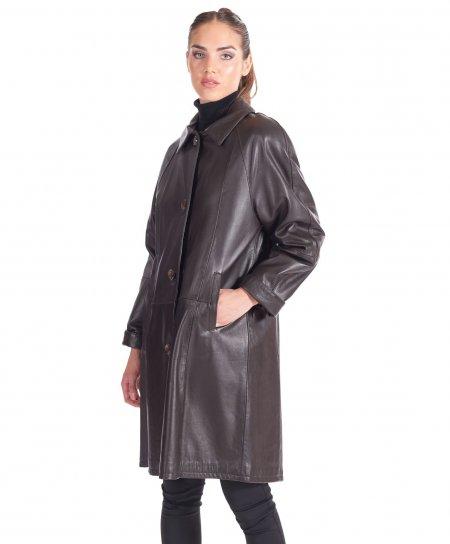 Manteau cuir plongé marron foncé trench évasé col fourrure