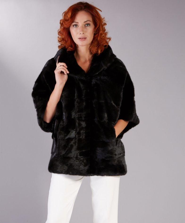 Veste fourrure vison femme avec capuche • couleur noir