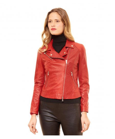 Veste cuir rouge perfecto manches zippées cuir pull up