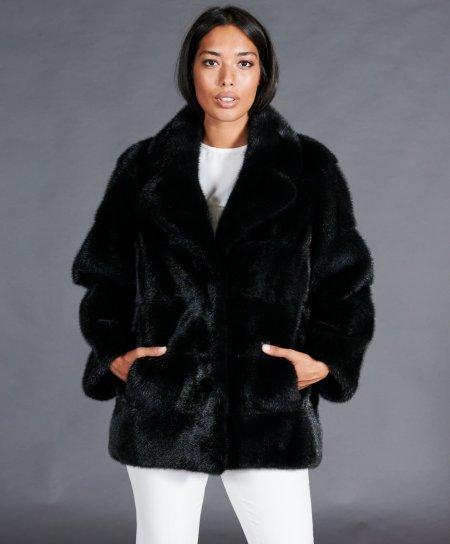 Veste fourrure vison femme col chemise • couleur noir