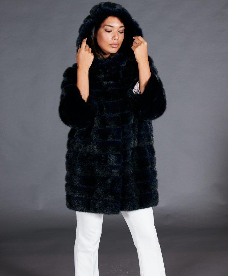 Manteau fourrure vison femme capuche et manche 3/4 • couleur bleu foncé