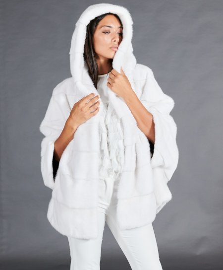 Cape fourrure vison femme avec capuche • couleur blanc