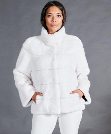 Veste fourrure vison femme courte col rond • couleur blanche