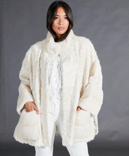 Cape vison femme et agneau persan • couleur pearl