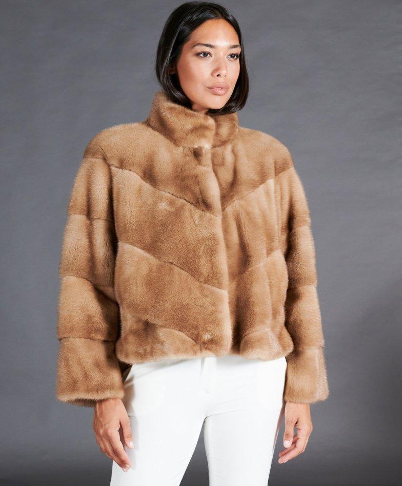 Veste fourrure vison femme courte col rond • couleur miel