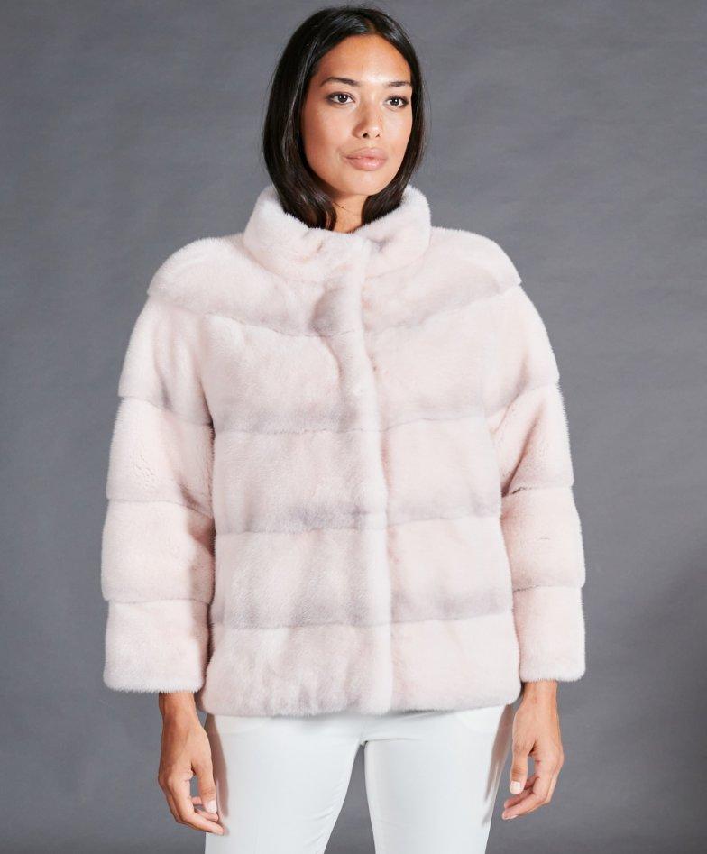 Veste fourrure vison femme courte col rond • couleur rose