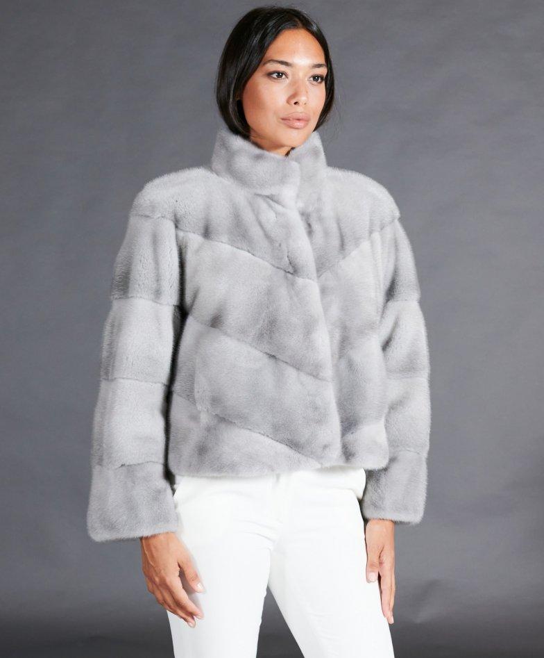 Veste fourrure vison femme courte col rond • couleur saphire