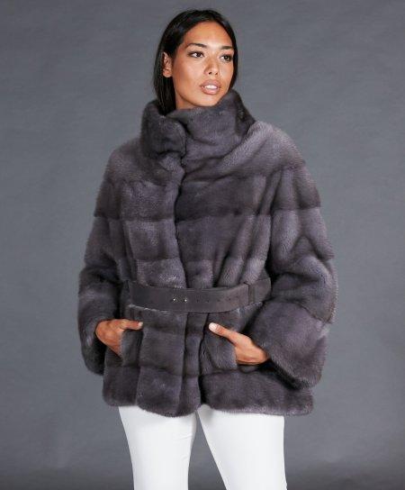 Veste fourrure vison femme avec ceinture • couleur silver blue