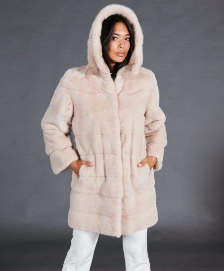 Manteau fourrure vison femme avec capuche • couleur poudre