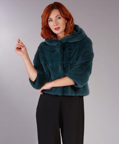 Veste fourrure vison femme avec capuche • couleur verte