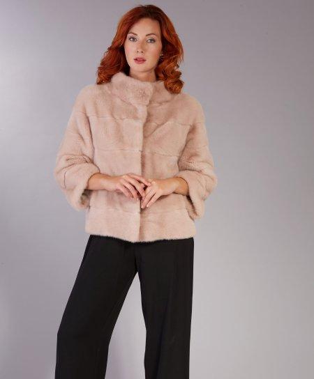 Veste fourrure vison femme col rond • couleur poudre