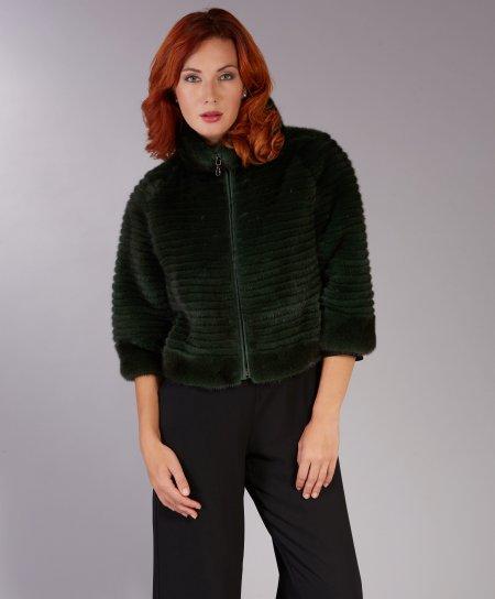 Veste fourrure vison femme col rond • couleur verte foncée