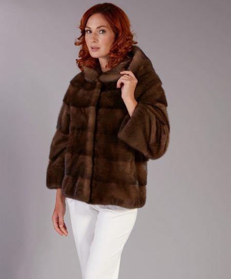 Veste fourrure vison femme avec capuche • couleur marron